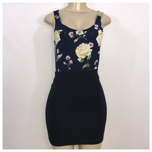 Blue and Black Floral Mini Dress Small